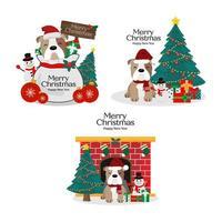 Kerstset met schattige hond in de hoed van santa