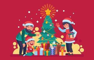 gelukkig gezin met kerstcadeau vector