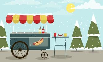 Winter vector hotdog stand