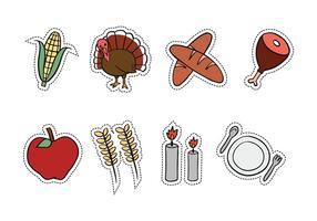 Thanksgiving hand getekende icoontjes vector
