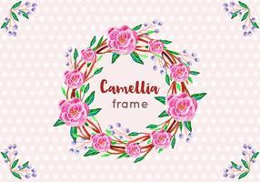 Gratis Vector Camellia Frame in stijl van de waterverf