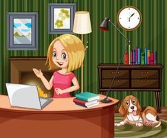 vrouw die op de computer thuis werkt vector