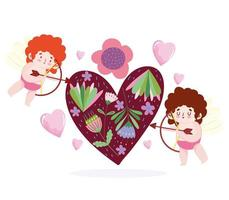hou van kleine cupido's die pijl in het hart schieten vector