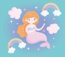 schattige kleine zeemeermin met regenbogen