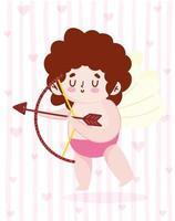 hou van schattige cupido met pijl, boog en harten vector