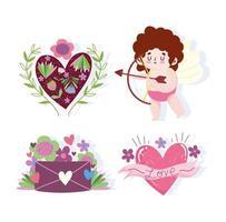 hou van cupido, brief, hartbloemen en bloemendecoratie vector
