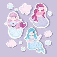 schattige kleine zeemeerminnen icon set vector