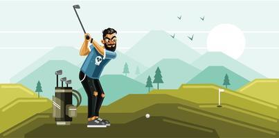man golfen in de groene heuvel vector