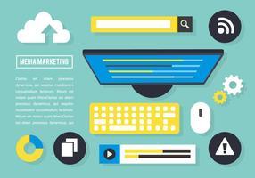 Gratis Flat Media Marketing VectorElementen vector