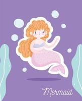 schattige blonde zeemeermin met bubbels onder water