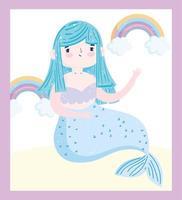 schattige cartoon blauwe zeemeermin met regenbogen