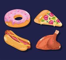 pizza, donut, hotdog en geroosterde kip vector