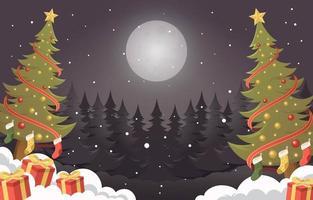 een witte kerstnacht met cadeautjes en groenblijvende bomen