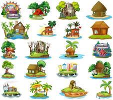 set van verschillende bungalows en eilandstrandthema