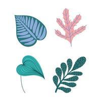 set van tropische bladeren en gebladerte