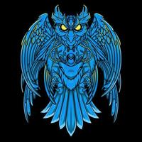 uil mecha in blauw vector