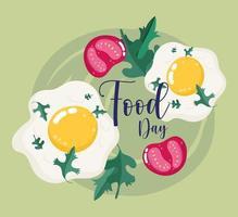 vers voedsel. gebakken eieren en plakjes tomaten