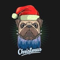 pug hoofd met kerstmuts over winters tafereel