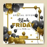 vierkante gouden en zwarte ballon zwarte vrijdag banner