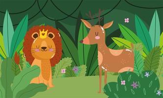 schattige leeuw met herten in het bos vector
