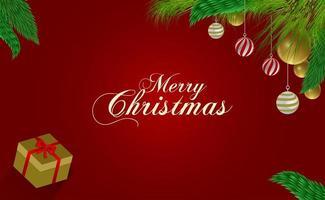 kerstontwerp met versierde takken en cadeau