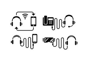 Headphone Pictogrammen van het Silhouet vector