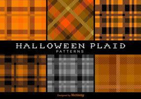 Halloween Trendy Plaidpatronen Vectorachtergronden