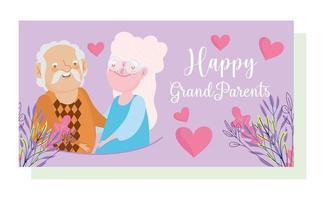 portret van bejaarde echtpaar met bloemen en harten