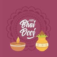gelukkige bhai dooj. licht en eten, indisch familiefeest vector