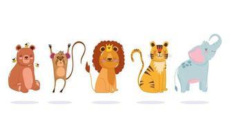 tekenfilm dieren. leeuw, tijger, beer, aap en olifant