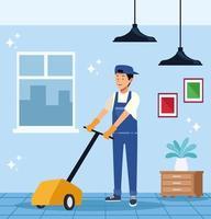 mannelijke huishoudster met vloerreinigingsmachine