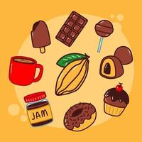 handgetekende chocolade icon set vector