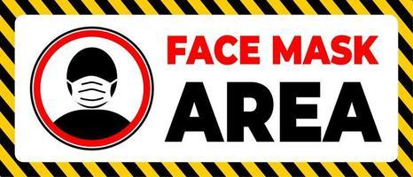 gezichtsmaskergebied waarschuwing voor het dragen van een masker in een bepaald gebied