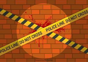 Gratis Vector Lijn van de politie op bakstenen muur