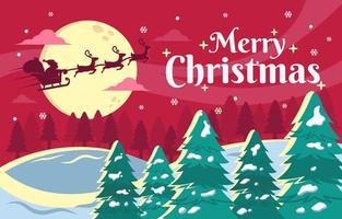 vliegende kerstman bij kerstnacht landschap-achtergrond