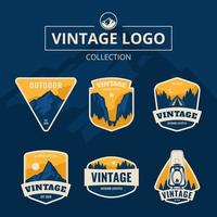 blauw berg vintage logo vector