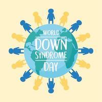 wereld down syndroom dag. kinderen rond de planeet