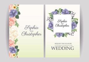 gele pastel bruiloft uitnodiging met bloemen set