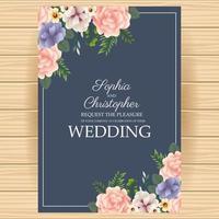 huwelijksuitnodiging met bloemenhoeken