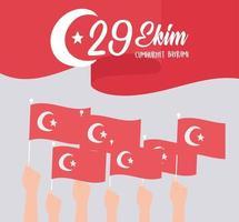 turkije republiek dag. zwaaiende rode vlag en handen