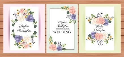 set verticale bloemen huwelijksuitnodigingen