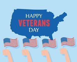 gelukkige veteranendag. handen met vlaggen en kaart