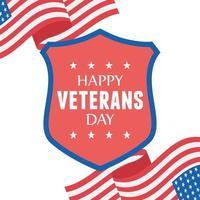 gelukkige veteranendag. wapperende vlaggen en schildembleem