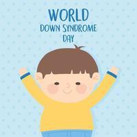 wereld down syndroom dag. klein jongenskarakter