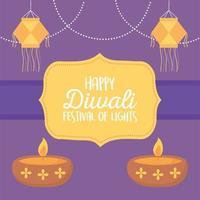 gelukkig diwali-festival. hangende lantaarns en diya-lampen vector