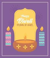gelukkig diwali-festival. diya lamp en brandende kaarsen vector