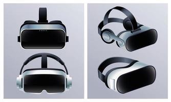 vier virtual reality-maskersaccessoires met grijze achtergrond