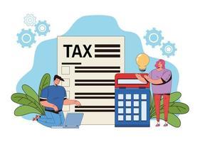 belastingbetalingsconcept met mensen en rekenmachine vector