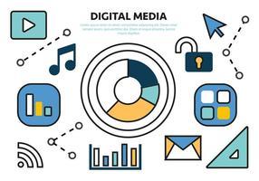 Gratis Flat Digital Media Concept Vector
