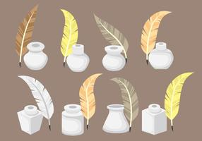 Inktpot Pictogrammen met Feather vectoren